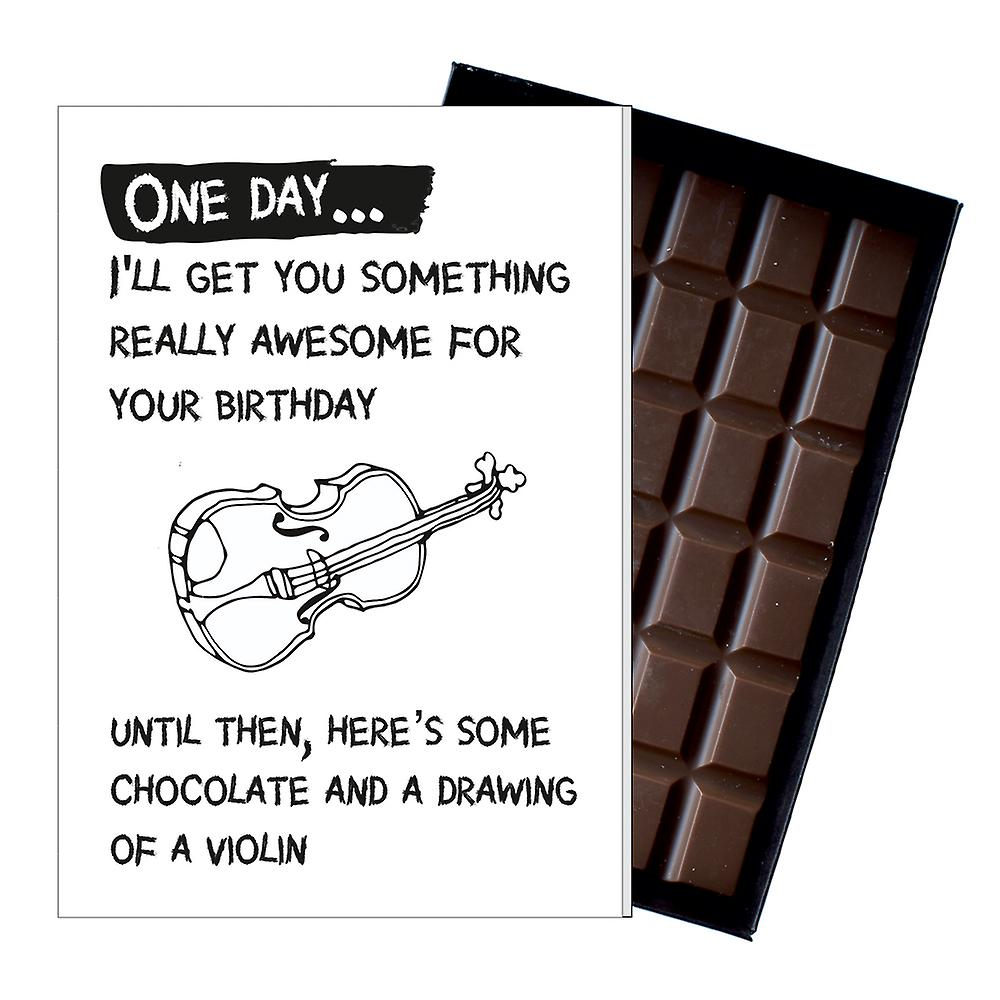 Funny Birthday Gift for Musician Violin Fiddleo Player Boxed Chocolate Greeting Card Present OD139