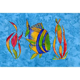 Carolines Treasures  8713PLMT Troical Fish and Seaweed on Blue Fabric Placemat