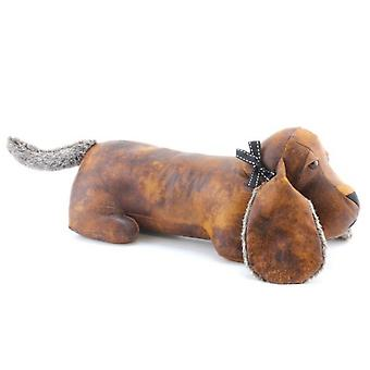 Faux Leather Dachshund Doorstop