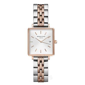Rosefield QMWSSR-Q024 Watch - Bo tier m tal gold gold bright white dial with dateur two-tone steel bracelet gold pink Women