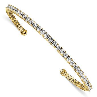 925 Sterling Silver Polished Prong set 14k Gold Plated With CZ Cubic Zirconia Simulated Diamond Cuff Bracelet Bijoux Gi
