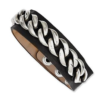Stainless Steel Polished Snap closure Black Leather With Chain 8.5in Bracelet