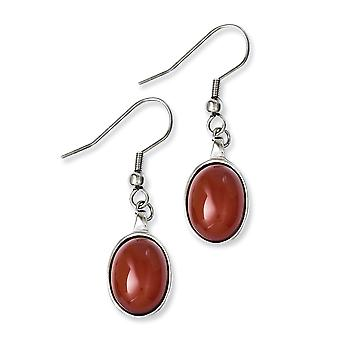 Stainless Steel Dangle Polished Shepherd hook Red Agate Earrings Jewelry Gifts for Women
