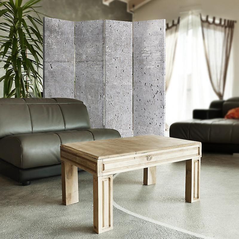 Diviseur de chambre, 4 panneaux, toile, mur en béton 4