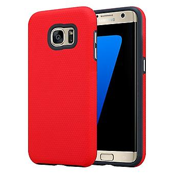 Custodia Cadorabo per Samsung Galaxy S7 EDGE in NELKEN RED – Custodia per telefono esterna con superficie Extra Grip Anti Slip in Triangle Design in silicone e plastica - Custodia protettiva Custodia ibrida Hardcase Back