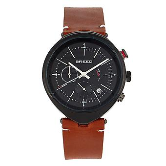 Breed Tempest Chronograph Leather-Band Watch w/Date - Brun/Noir