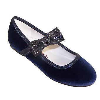 Girls dark blue sparkly velvet ballerina party shoes