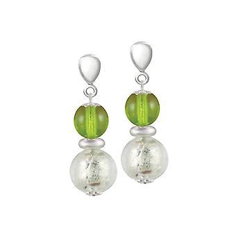 Eternal Collection Veneto Lime Green Murano Glass Silver Tone Drop Clip On Earrings