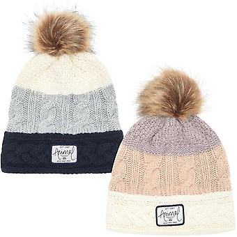 Animal Celise Womens Winter Warm Cable Knit Knitted Bobble Beanie Hat