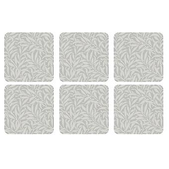 William Morris Pure Willow Bough Coasters, Set of 6
