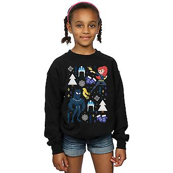 Marvel Girls Black Panther And Black Widow Christmas Day Sweatshirt