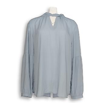 Laurie Felt Women's Top Woven Blouse w/ Keyhole Blue A301673