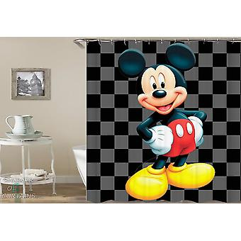 Mickey Mouse Checkered Background Shower Curtain