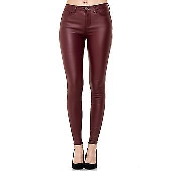 Kvinders bukser læder Optic høj talje Biker bukser Skinny Jeans Treggings imiteret