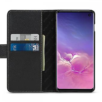 Case For Samsung Galaxy S10 Black Grained Card Holder In True Leather