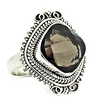 Ring 925 Silber mit Rauchquarz 57 mm / Ø 18.1 mm (KLE-RI-066-58-(57))