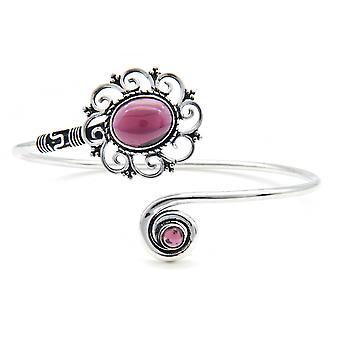 Bangle bracelet silver plated silver garnet red (922-05-025-02)