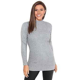KRISP Kobiety High Neck Długi sweter Soft Knit Sweter Top Sweter Zimowy Casual