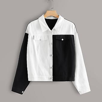 Plus two tone single-breasted denim jacket