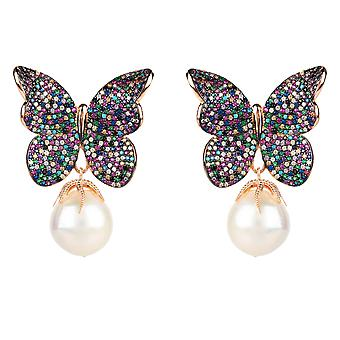 Boucles d'oreilles Natural Baroque Pearl Butterfly Stud Multi Coloured Pink Rose Gold