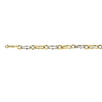 925 Sterling Silver Yellow and Rhodium Plated Two tone Hollow 1+1 Oval And Round Link Bracelet 8 Inch Jewelry Gifts for