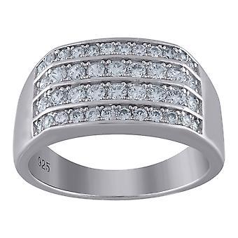 925 Sterling Sølv Herre CZ Cubic Zirconia simuleret Diamond Four Row 9.5mm Band Ring smykker Gaver til mænd - Ring Størrelse: