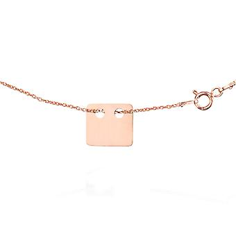 Ah! Jewellery Layered Style Square Necklace Vermeil 18K Rose Gold over Sterling Silver.