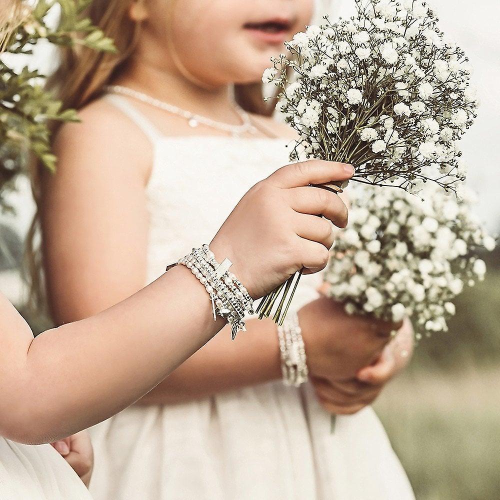 ChloBo Childrens Silver & Pearl Forever Love Set Of 2 Bracelets