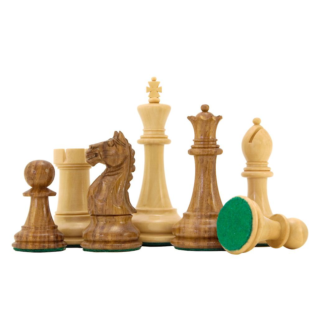 Oxford Series Sheesham and Boxwood Chess Pieces 3.5 Inches