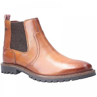Base London Wilkes Tan Leather Washed Pull On Chelsea Boots