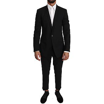 Dolce & Gabbana Black Wool Stretch Gold 2 Piece Suit