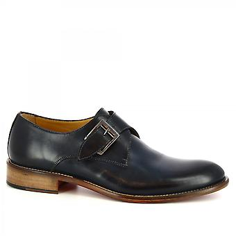 Leonardo Shoes Men's handmade classy shoes with buckle in blue calf leather