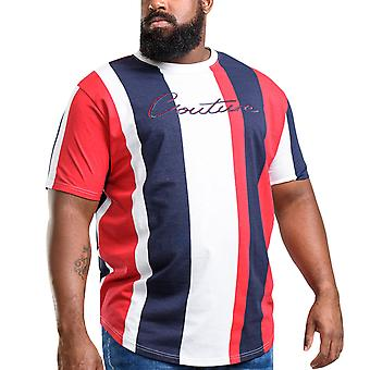 Duke D555 Mens Bancroft Big Tall King Size Couture Striped T-Shirt - Red/Navy