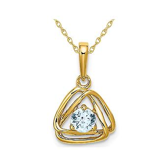 1/4 Carat (ctw) Natural Aquamarine Dangle Pendant Necklace in 14K Yellow Gold with Chain