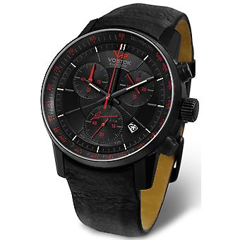 Vostok gaz-14 limouzine chrono tritium Quartz Analog Man Watch with Cowhide Bracelet 6S30-5654176