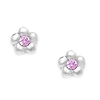 14k White Gold Pink CZ Cubic Zirconia Simulated Diamond Small Flower Screw back Earrings Measures 7x7mm Jewelry Gifts fo