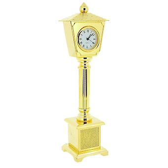 Miniature Goldtone On Solid Brass Lamp Post Novelty Collectors Clock IMP26
