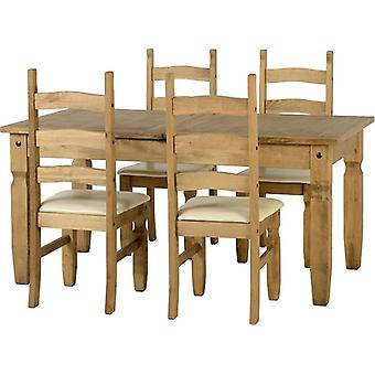 Corona Extending Dining Set (1+4) - Distressed Gewachste Kiefer/Creme Pu