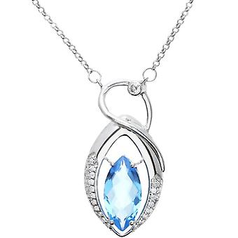 Citerna Necklace with Women's Pendant - Silver Plated - Blue Topazio/Cubic Zircone