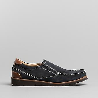 Dr Keller Conrad Mens Leather Moccasin Loafers Navy
