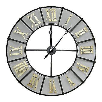 Charles Bentley hierro forjado al aire libre jardín metal reloj romano salidos romanos - negro y oro, resistente al tiempo Dia 87 X D6CM