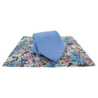 Michelsons Of London Plain Tie ve Kontrast Çiçek Cep Kare Set - Açık Mavi