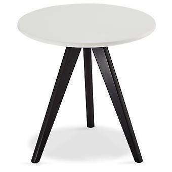 Furnhouse Life Coffee Table, White Top, Black Wooden Legs, 40x40x40 cm