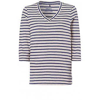 Olsen Grey & Blue Striped Jersey