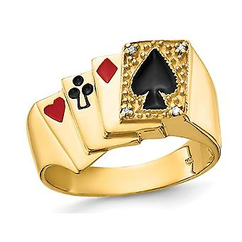 Mens 14K Yellow Gold Playing Card Suit Ring