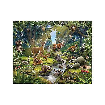 Walltastische Tiere des Waldes Wandbild 2,44m x 3,05m