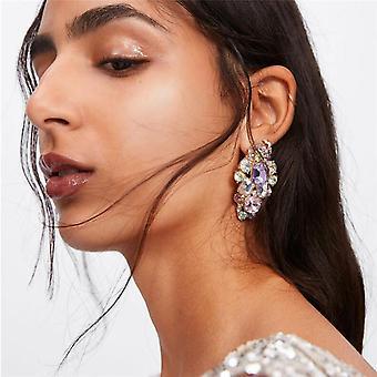 Grote oorbellen met paarse, roze en zilveren steentjes