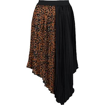 Saint Tropez Pleated Leopard Mix Midi Skirt