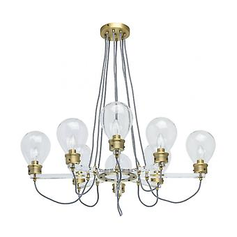 Brass Pendant Light Loft 8 Bulbs 73 Cm
