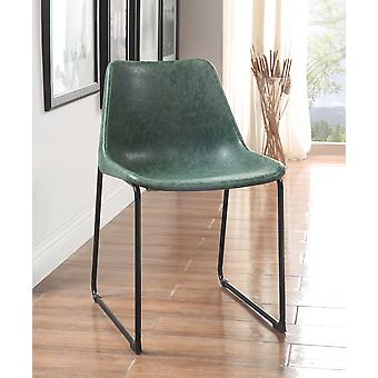 Vintage Look Faux Leather Jade and Black Side Chairs Set of 2